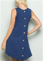 PLUS SIZE - SD1059-11 BUTTON BACK DRESS WITH SIDE POCKET 2-2-2