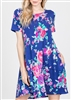 PLUS SIZE - SD1081-23 FLORAL DRESS WITH SIDE POCKET 2-2-2