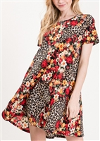SD1081-50 FLORAL AND ANIMAL PRINT DRESS 2-2-2