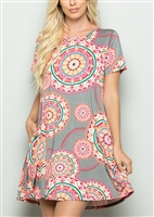 PLUS SIZE - SD1081-77 FLORAL DRESS WITH SIDE POCKET 2-2-2