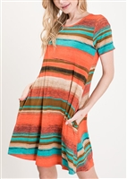 PLUS SIZE SD1081-83 MULTI STRIPE DRESS 2-2-2