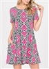 PLUS SIZE - SD1081-85 MULTI PRINT DRESS WITH SIDE POCKETS 2-2-2