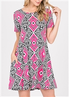 SD1081-85 MULTI PRINT DRESS WITH SIDE POCKETS 2-2-2