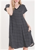 PLUS SIZE - SD1109-100 STRIPE PRINT DRESS 2-2-2