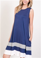 PLUS SIZE - SD1118-11 COLOR BLOCK DRESS WITH SIDE POCKET 2-2-2