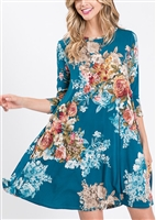 SD1145-11 FLORAL PRINT DRESS WITH SIDE POCKET 2-2-2