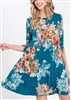PLUS SIZE SD1145-11 FLORAL PRINT DRESS WITH SIDE POCKET 2-2-2