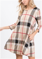 SD1145-17 PLAID PRINT DRESS WITH SIDE POCKET 2-2-2