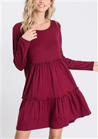 PLUS SIZE SD1157S SOLID RUFFLED DRESS 2-2-2