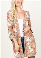 PLUS SIZE SJ1006-52 FLORAL PRINT CARDIGAN WITH SIDE SLIT 2-2-2