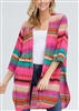 PLUS SIZE SJ1006-88 MULTI STRIPE PRINT CARDIGAN 2-2-2