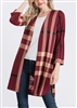 PLUS SIZE SJ1006-89 PLAID CARDIGAN WITH SIDE SLIT 2-2-2