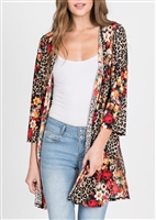 PLUS SIZE - SJ1006-9 ANIMAL AND FLORAL PRINT CARDIGAN 2-2-2