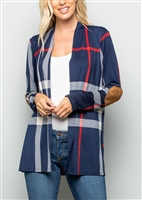 PLUS SIZE SJ1021-14 PLAID PRINT OPEN CARDIGAN WITH ELBOW PATCH 2-2-2