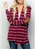PLUS SIZE - SJ1023-20 STRIPE CARDIGAN WITH ELBOW PATCH 2-2-2