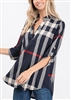ST1002-21 PLAID PRINT COLLAR TOP 2-2-2