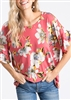 PLUS SIZE - ST1011-17 RUFFLED SLEEVE FLORAL TOP 2-2-2