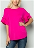 ST1011S SHORT RUFFLED SLEEVE SOLID TOP 2-2-2