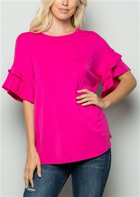 PLUS SIZE - ST1011S SHORT RUFFLED SLEEVE SOLID TOP 2-2-2