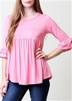 ST1013S RUFFLED SLEEVE SOLID BABYDOLL TOP 2-2-2