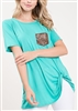 ST1018-10 SOLID TOP WITH TWIST KNOT AND POCKET 2-2-2