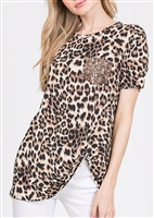 PLUS SIZE - ST1018-11 ANIMAL PRINT TOP WITH SEQUINS POCKET 2-2-2