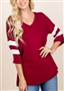 PLUS SIZE - ST1019 SOLID TOP WITH VARSITY STRIPE 2-2-2