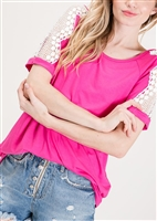 ST1033-10 SHORT SLEEVE SOLID TOP WITH LACE TRIM 2-2-2