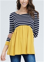 ST1040-10 STRIPE AND SOLID CONTRAST TOP 2-2-2