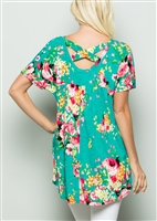 PLUS SIZE - ST1101-11 FLORAL PRINT TOP WITH CRISSCROSS BACK AND SIDE POCKET 2-2-2
