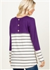 ST1117-10 SOLID AND STRIPE CONTRAST TOP 2-2-2