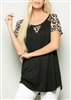 ST1134-11 ANIMAL PRINT CONTRAST TOP 2-2-2