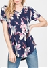 PLUS SIZE - ST1153-16 V-NECK ROUND HEM FLORAL PRINT TOP 2-2-2