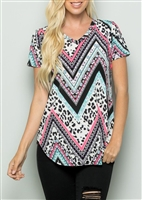 PLUS SIZE - ST1153-61 ANIMAL AND MULTI PRINT TOP 2-2-2