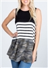 ST1165-14 STRIPE AND CAMO COLOR BLOCK TOP 2-2-2