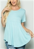 ST1166S SHORT SLEEVE SOLID BABY DOLL TUNIC TOP 2-2-2