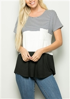 PLUS SIZE - ST1172-13 COLOR BLOCK TOP WITH FRONT POCKET 2-2-2
