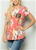 PLUS SIZE - ST1173-14 FLORAL PRINT TOP WITH SEQUIN FRONT POCKET 2-2-2