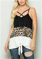 ST1188-15 CRISSCROSS SOLID AND ANIMAL PRINT COLOR BLOCK TOP 2-2-2