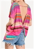 ST1189-23 STRIPE PRINT TOP WITH TWIST OPEN BACK 2-2-2