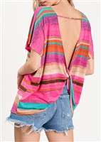 PLUS SIZE - ST1189-23 STRIPE PRINT TOP WITH TWIST OPEN BACK 2-2-2