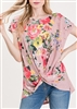 ST1219-11 FLORAL PRINT TOP WITH TWIST KNOT 2-2-2
