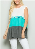 PLUS SIZE - ST1227B-10 COLOR BLOCK TOP WITH TASSEL DETAIL 2-2-2