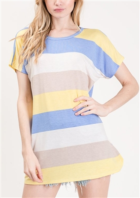 ST1255-16 MULTI COLOR STRIPE PRINT TOP 2-2-2