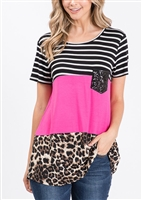 ST1265-11 ANIMAL COLOR BLOCK TOP WITH SEQUIN POCKET 2-2-2