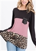 ST1310-10 ANIMAL COLOR BLOCK TOP WITH SEQUIN POCKET 2-2-2