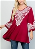 PLUS SIZE - ST1332 EMBROIDERED PRINT TOP 2-2-2