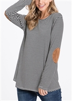 PLUS SIZE ST1376-10 STRIPE PRINT TOP WITH ELBOW PATCH 2-2-2