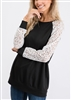 ST1458-10 SOLID AND LACE CONTRAST TOP 2-2-2