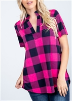 PLUS SIZE ST1513-10 MANDARIN COLLAR PLAID PRINT TOP WITH BUTTON DETAIL 2-2-2